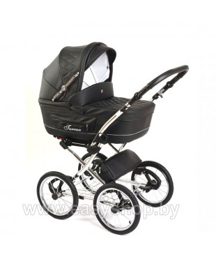 Купить детскую коляску Turan Silver ECO из Эко-кожи черного цвета
