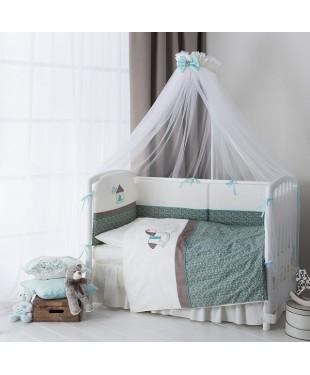 Комплект постельного белья в детскую кроватку  Жила-была Лошадка 7пр.