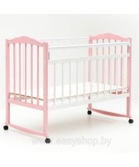 "Кроватка ""Bambini""  колесо - качалка Бело-розовая  01"