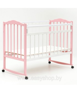 Кроватка BAMBINI 01 Бело-розовая